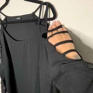 Torrid black slinky top cutout shoulder detail